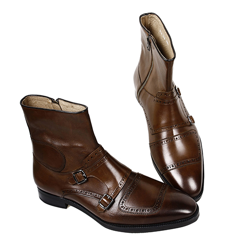 [G-PEAR] 258 RIDER TIP ANKLE BOOTS - BROWN