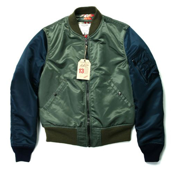 [Schott NYC Perfecto] Two Tone Satin Ma-1 Jacket - Sage/Navy
