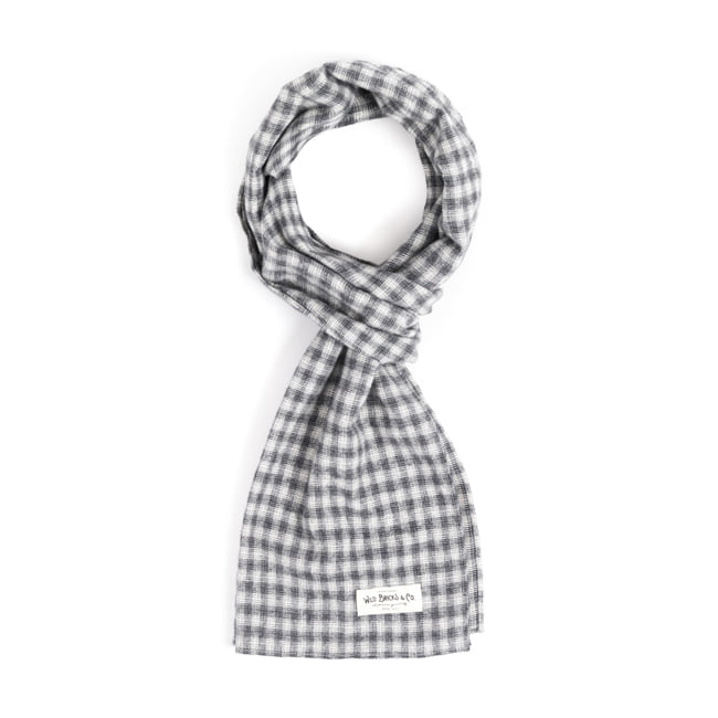 WILDBRICKS - STRAW CHECK STOLE (grey)