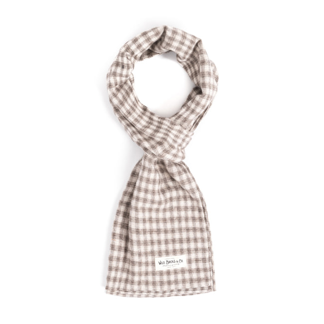 WILDBRICKS - STRAW CHECK STOLE (beige)