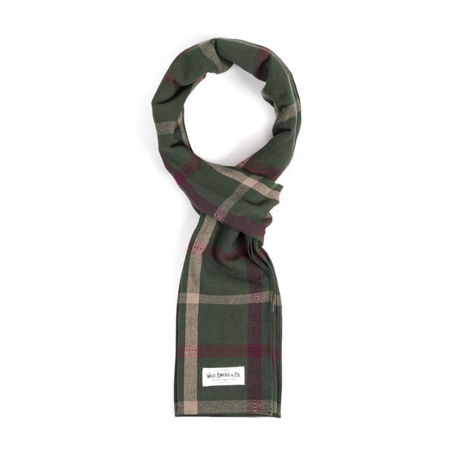 WILDBRICKS - PIN CHECK STOLE (green)