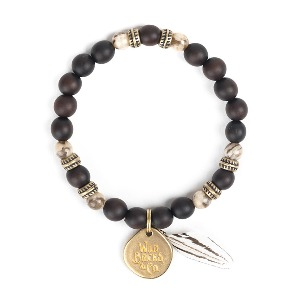 [와일드브릭스 원석 팔찌] WILDBRICKS - FEATHER BRACELET (dark brown)