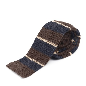 [와일드브릭스 타이] WILD BRICKS - LAN STRIPE KNIT TIE (brown)