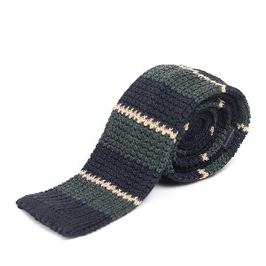 [와일드브릭스 타이] WILD BRICKS -LAN STRIPE KNIT TIE (navy)