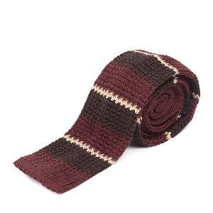 [와일드브릭스 타이] WILD BRICKS -LAN STRIPE KNIT TIE (burgundy)