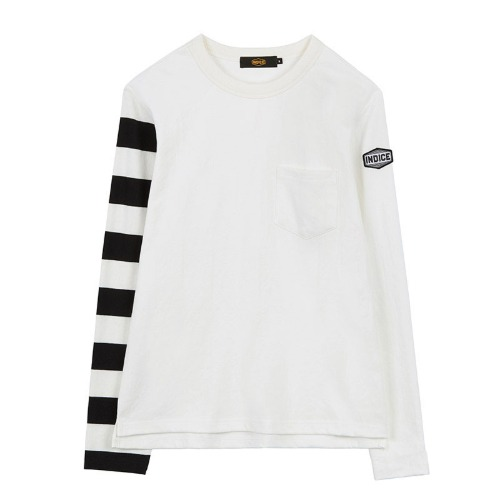 [인다이스 슬리브] INDICE - Heavy Cotton Sleeve TEE (BLACK/Stripe_W_B)