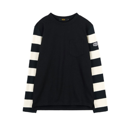 [인다이스 슬리브] INDICE - Heavy Cotton Terry sleeve TEE (BLACK/Stripe_W_B)