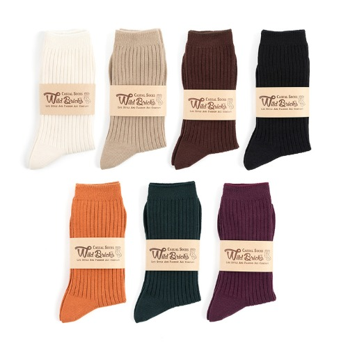 [와일드브릭스] WILD BRICKS - LW COTTON RIB SOCKS